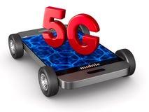 5G phone on white background. Isolated 3D illustration Royalty Free Stock Image