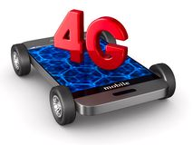 4G phone on white background. Isolated 3D illustration.  Royalty Free Stock Photo
