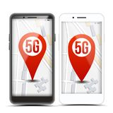 5G Pointer Sign On Mobile Screen Vector. Smart Phone. Red Icon. Internet Wi-Fi Connection. Speed. Wireless Internet. Network Future Technology. Illustration royalty free illustration