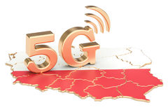 5G in Poland concept, 3D rendering. Isolated on white background Stock Photos
