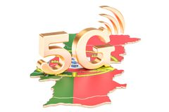 5G in Portugal concept, 3D rendering. Isolated on white background Royalty Free Stock Photos