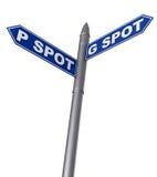 G-Punkt und P-Punktzeichen Stockfoto