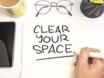 G?ra klar ditt utrymme, Motivational ordcitationsteckenbegrepp arkivfoton