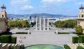 G?ra Montjuic Widok Barcelona od g?rnych krok?w uroczysty schody Krajowy pa?ac Od obserwacja pok?adu fotografia royalty free
