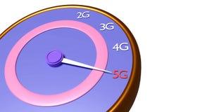 5g rappresentazione del tachimetro 3d Fotografie Stock