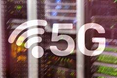 5G rede, conceito da conex?o a Internet 5G no fundo digital Conceito esperto da rede de comunica??o ilustração do vetor