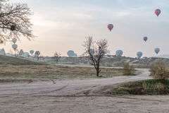 Göreme sinrise and balloon take offs Stock Image