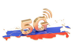 5G in Russia concept, 3D rendering. Isolated on white background Royalty Free Stock Photo