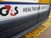 G4S救护车医疗保健后勤学商标 库存图片