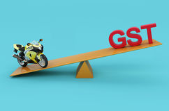 G S T Concept with Motorcycle. 3D Rendered Image Royalty Free Stock Image