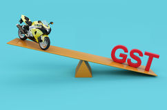 G S T Concept with Motorcycle. 3D Rendered Image Stock Photos