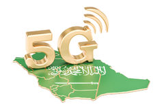 5G in Saudi Arabia concept, 3D rendering. On white background stock illustration