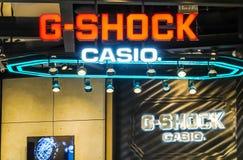 G-SHOCK signage przy ikony Siam centrum handlowym zegarki od elektronika wytwórcy firmy Casio obrazy stock