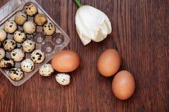 Gęsi jajko, kurny jajko i przepiórki jajko na drewnianym tle, Zdjęcie Royalty Free