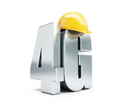 4G sign, 4G construction helmet high speed data wireless connection. Stock Image