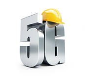 5G sign, 5G construction helmet high speed data wireless connection. 3d Illustrations Royalty Free Stock Photography