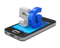 5G Sign on Mobile Phone Isolated. On white background. 3D render Stock Images