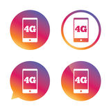 4G sign. Mobile telecommunications technology. 4G sign icon. Mobile telecommunications technology symbol. Gradient buttons with flat icon. Speech bubble sign Stock Image