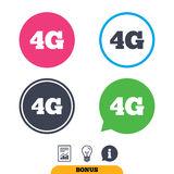 4G sign. Mobile telecommunications technology. 4G sign icon. Mobile telecommunications technology symbol. Report document, information sign and light bulb icons Stock Photography
