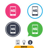 4G sign. Mobile telecommunications technology. 4G sign icon. Mobile telecommunications technology symbol. Report document, information sign and light bulb icons Royalty Free Stock Photos