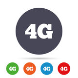 4G sign. Mobile telecommunications technology. 4G sign icon. Mobile telecommunications technology symbol. Round colourful buttons with flat icons. Vector Royalty Free Stock Images