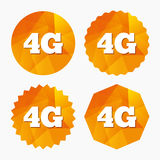 4G sign. Mobile telecommunications technology. 4G sign icon. Mobile telecommunications technology symbol. Triangular low poly buttons with flat icon. Vector royalty free illustration