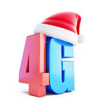 4G sign Santa Hat. 4G cellular high speed data wireless connection. 3d Illustrations on white background vector illustration