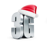 3G sign Santa Hat, 3G cellular high speed data wireless connection. 3d Illustrations Royalty Free Stock Photos