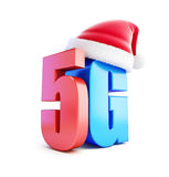 5G sign Santa Hat, 5G cellular high speed data wireless connection. 3d Illustrations on white background vector illustration