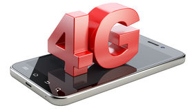 4G sign on smart phone screen. High speed mobile web technology. 3d illustration isolated on a white background Stock Photos