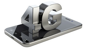 4G sign on smart phone screen. High speed mobile web technology. 3d illustration  on a white background Stock Photography