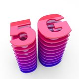 5G sign - wireless cellular network. Speed red glossy symbol royalty free illustration