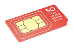 5G sim card mini, micro, nano. 3D rendering Royalty Free Stock Photos