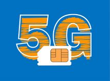 5G Sim Card. Mobile telecommunications technology. Symbol royalty free illustration