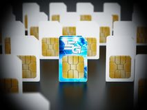 5G SIM card stands out among standard sim cards. 3D illustration.  vector illustration