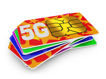 5g sim cards. Stack of sim cards with the inscription 5g on a white background stock illustration