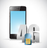 4g sim and phone connection concept. Illustration design over a white background Stock Photography
