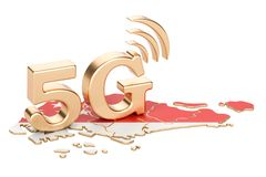 5G in Singapore concept, 3D rendering. Isolated on white background Royalty Free Stock Photos