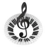 G-sleutel in abstract pianotoetsenbord Symbool van muziek Stock Foto's