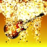 G-sleutel in de wolk van sterren en jazzgitaar Royalty-vrije Stock Foto