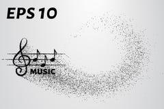 G-sleutel en nota's van het deeltje Muziekembleem van kleine cirkels wordt gemaakt die Vector illustratie Stock Afbeelding
