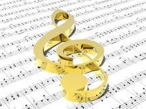 G-sleutel op blad van afgedrukte muziek Royalty-vrije Stock Afbeelding
