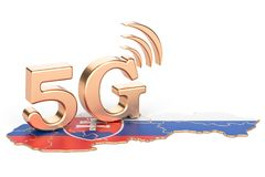 5G in Slovakia concept, 3D rendering. Isolated on white background Royalty Free Stock Photos