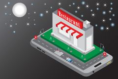 3g smart phone with city isometric modern restaurant building of night concept vector illustration