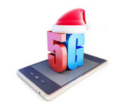 5G smartphone ang text 5G Santa Hat. 5G cellular high speed data wireless connection. 3d Illustrations on white background Stock Photos
