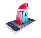 4g smartphone ang text 4G Santa Hat. 4G cellular high speed data wireless connection. 3d Illustrations on white background Stock Images