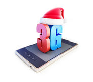 3g smartphone ang text 3G Santa Hat, 3G cellular high speed data wireless connection. Stock Photos