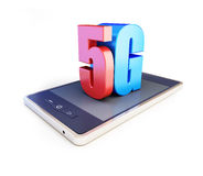 5G smartphone ang text 5G. 5G sign, 5G cellular high speed data wireless connection. 3d Illustrations on white background Stock Photography