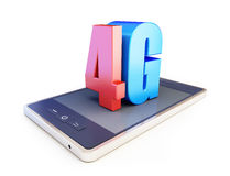 4g smartphone ang text 4g. 4G sign, 4G cellular high speed data wireless connection. 3d Illustrations on white background Royalty Free Stock Photography