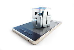 5G smartphone ang text. On a white background 3D illustration Royalty Free Stock Photo